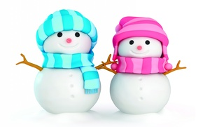 Wallpaper winter, new year, snowmen