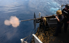 Picture weapons, shooting, U.S. Marines, USS Boxer (LHD 4), 50-caliber machine gun