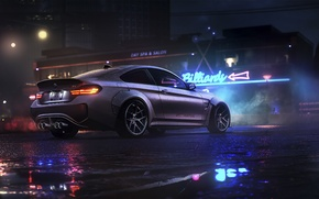 Wallpaper Car, Rear, Night, Dark, BMW, Rain, Sport