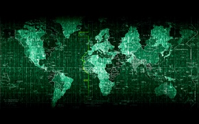 Wallpaper the world, map, matrix, matrix, KRATA world