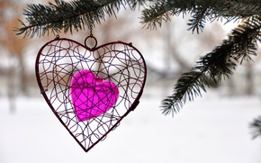 Picture winter, tree, heart, spruce, decoration, lovers, heart, Holy, Valentin
