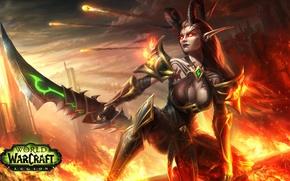 Picture chest, girl, elf, sword, art, World of Warcraft, wow, demon hunter, legion