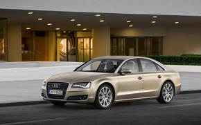 Picture road, grass, house, Audi, Audi, A8 2012