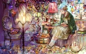 Picture girl, stones, lamp, books, braid