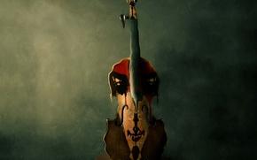Wallpaper violin, figure, paint, stains
