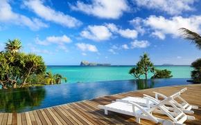 Picture pool, ocean, view, villa, Cuba, Luna-de-Miere