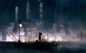 Picture night, the city, lights, rain, anime, pier, promenade
