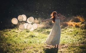 Picture summer, girl, the sun, balls, dress