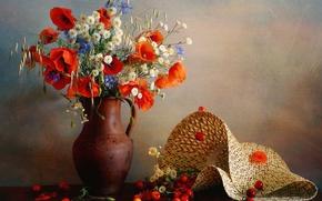Picture flowers, berries, Maki, hat, ears, pitcher, cherry, cornflowers, oats