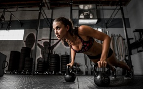 Picture face, hair, fitness, the gym, Dani, weights, push-UPS