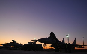 Wallpaper MiG-29, the airfield, sunset