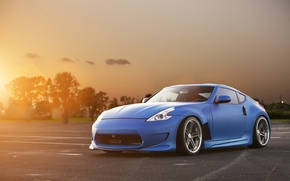 Picture the sun, sunset, blue, tuning, Nissan, Blik, Nissan, blue, front, kit, 370Z