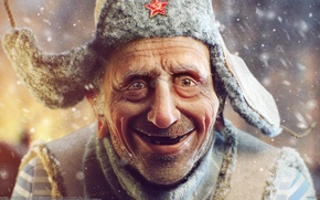 Picture snow, star, man, grandfather, the old man, hat, Sergii Andreichenko, Sergey Andreichenko
