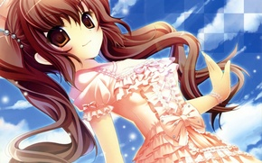 Picture the sky, girl, clouds, anime, dress, art, bow, touhou, himekaidou hatate