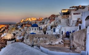 Picture the sun, nature, the city, sunrise, stones, building, home, morning, Santorini, Greece, Church, dome, Santorini, ...