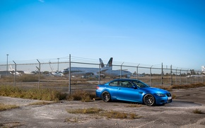 Picture blue, bmw, BMW, the fence, side view, blue, barbed wire, e92