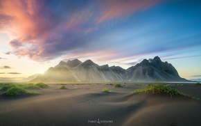 Picture beach, the sky, light, mountains, paint, Iceland