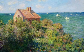 Picture Claude Monet, picture, boat, house, clouds, the sky, sail, landscape