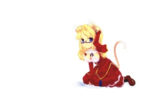 Picture cat, chest, look, girl, anime, art, glasses, neko, ears, Queen, ponytail, freezing, embarrassment, untouchable, zamoroka, …