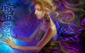 Picture woman, energy, paint, Reiki