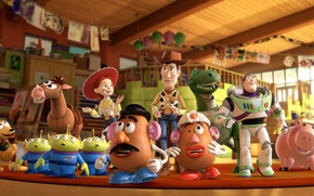 Picture cartoon, heroes, Buzz, Toy Story 3, Toy Story 3, Woody