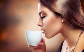 Picture girl, coffee, Cup, decoration, the aroma of coffee, Anna Subbotina