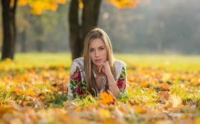 Picture autumn, look, girl, nature, face, hair, beauty