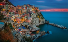 Wallpaper shore, coast, the city, boats, the evening, The province of la Spezia, building, rocks, Italy, ...