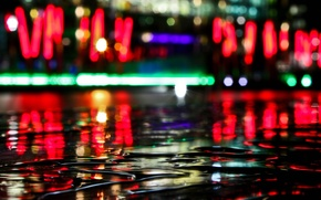 Picture water, reflection, Lights