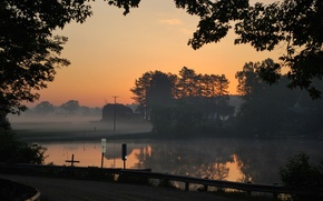 Picture road, trees, pond, silhouette, Dawn, road, trees, sunrise, pond