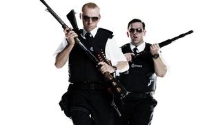 Picture weapons, gun, glasses, police, Simon Pegg, Nick Frost, Simon Pegg, police, Fuzz, Hot Fuzz, Nick …