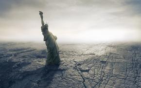 Picture desert, disaster, Apocalypse, desert, fantastic, American, Statue of Liberty, Apocalypse, disaster, dry, cracks, catastrophe, Armageddon