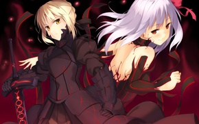 Picture weapons, art, dark saber, anime, dark matou sakura, kinta, sword, fate stay night, distortion, girls