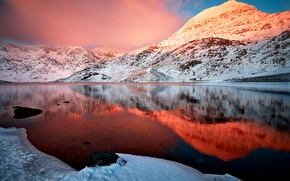 Wallpaper the sky, clouds, snow, nature, lake, reflection, mountain