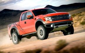 Picture Ford, Speed, Ford, Orange, Raptor, Car, Car, Raptor, Wallpapers, SUV, Power, F-150, SVT, Wallpaper, SVT