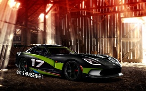 Picture rendering, Dodge, the barn, Viper, Dodge, Viper, rays of light, GTS, SRT, carbon body