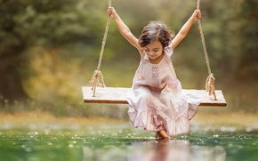 Picture smile, swing, dress, girl, Happiness is