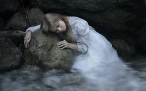 Picture sadness, girl, stone, dress