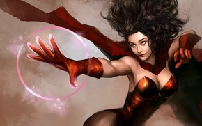 Picture look, fiction, hair, art, costume, witch, cloak, Marvel, Scarlet Witch