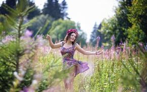 Picture summer, girl, nature, wreath, sundress