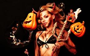 Wallpaper Halloween, girl, costume, Trident