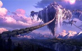 Picture the sky, mountains, cleft, chain, Floating island