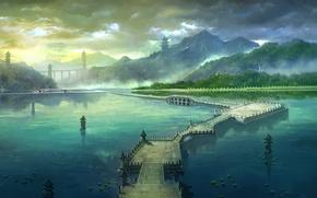 Picture road, summer, bridge, mountain, morning, art