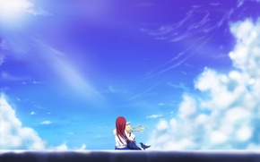 Picture the sky, clouds, girls, art, hugs, air, sitting, kamio misuzu, Haruko Kamio, yottin