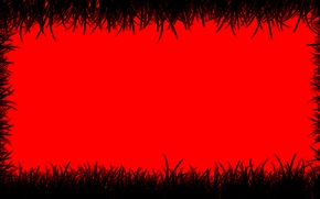 Picture grass, red, abstraction, color, picture