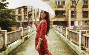Picture look, girl, bridge, face, umbrella, rain, dress, Asian, weather