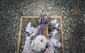 Picture soldiers, machine gun, m249