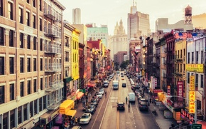 Wallpaper USA, United States, New York, Manhattan, NYC, New York City, Street, East Broadway, Chinatown, America, ...