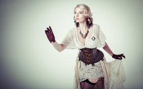Picture look, face, style, background, stockings, dress, corset, Steampunk