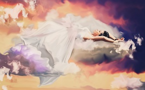 Picture the sky, clouds, Nirvana, woman, sleep, white dress, weightlessness